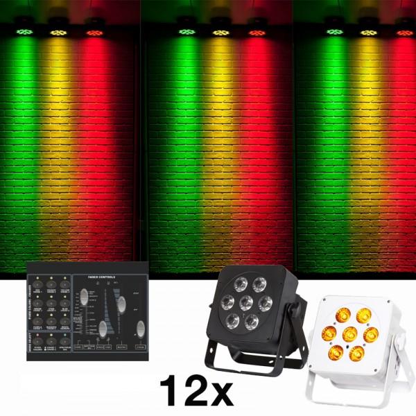 6Plan7 Lichtanlage 12 Strahler mit Soundsteuerung +Chakrenfarben
